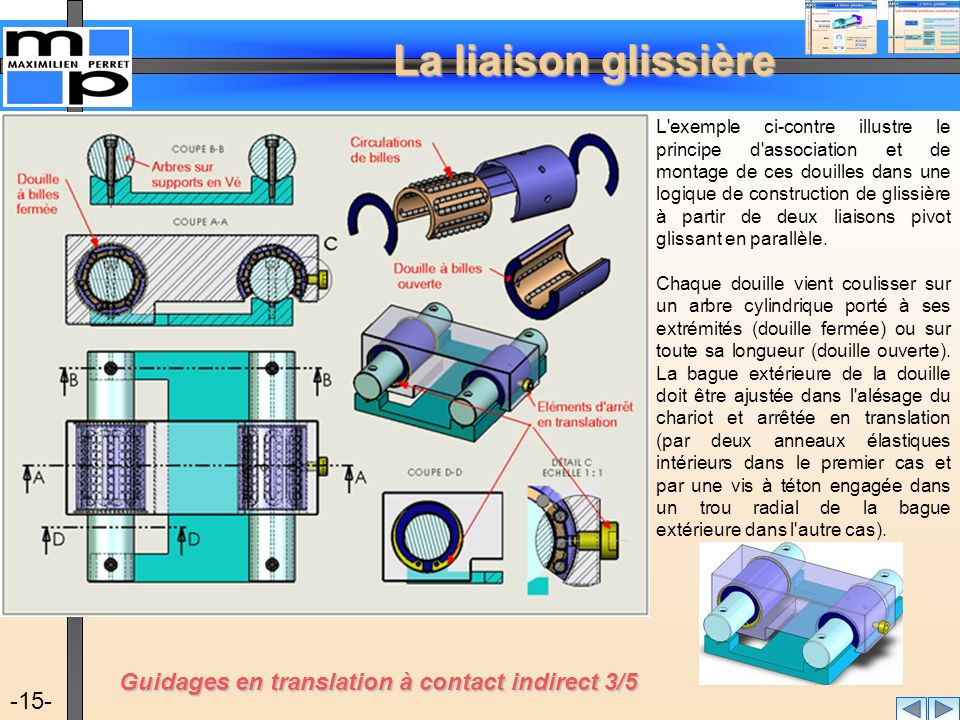 Guidages en translation à contact indirect 3/5