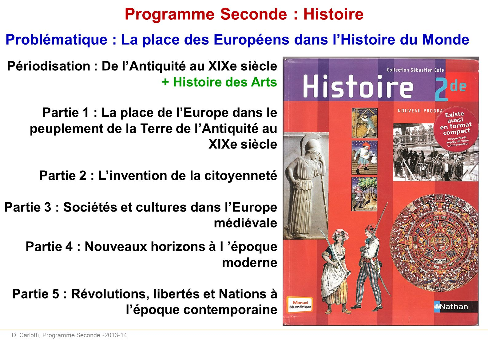 Programme Seconde : Histoire