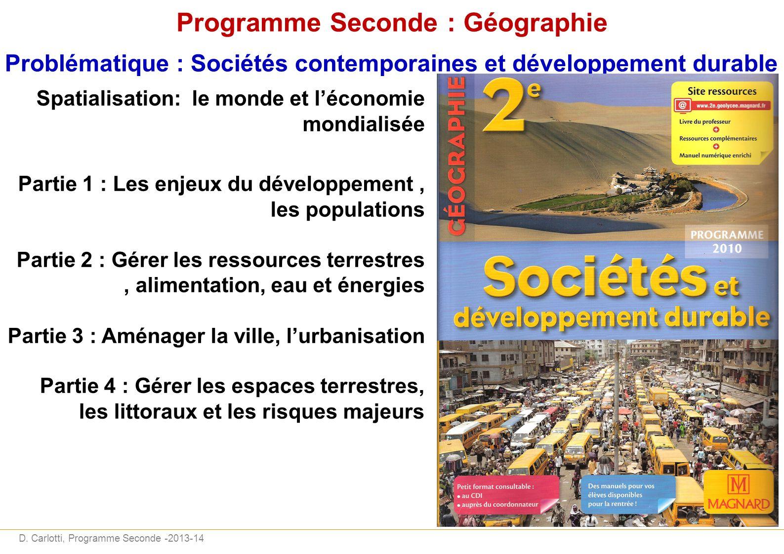 Programme Seconde : Géographie