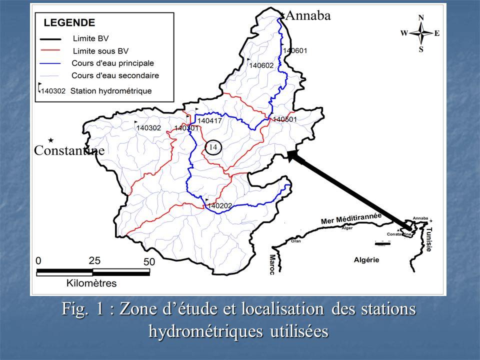 Fig. 1 : Zone d'étude et localisation des stations hydrométriques utilisées