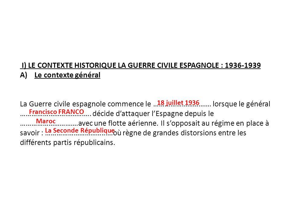 I) LE CONTEXTE HISTORIQUE LA GUERRE CIVILE ESPAGNOLE : 1936-1939