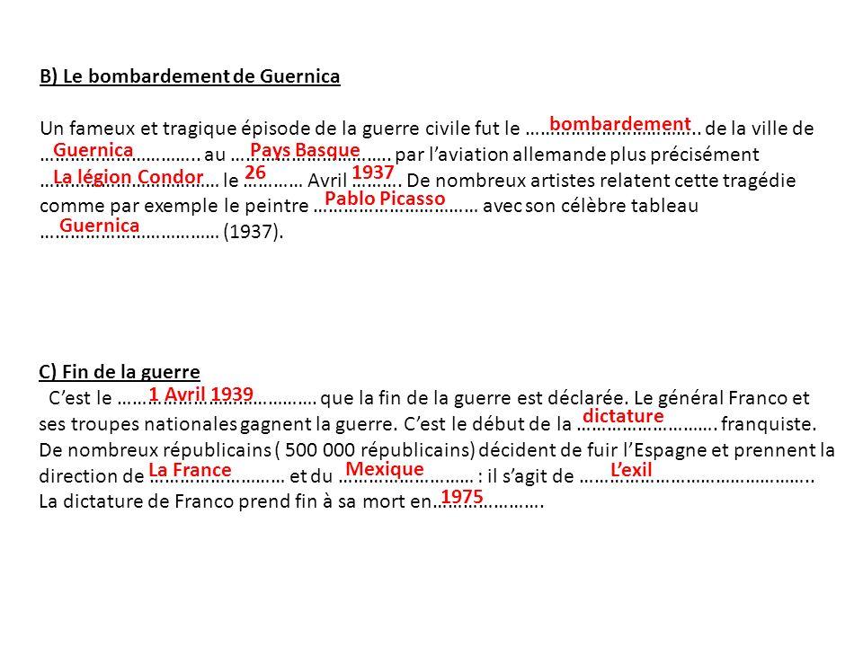 B) Le bombardement de Guernica