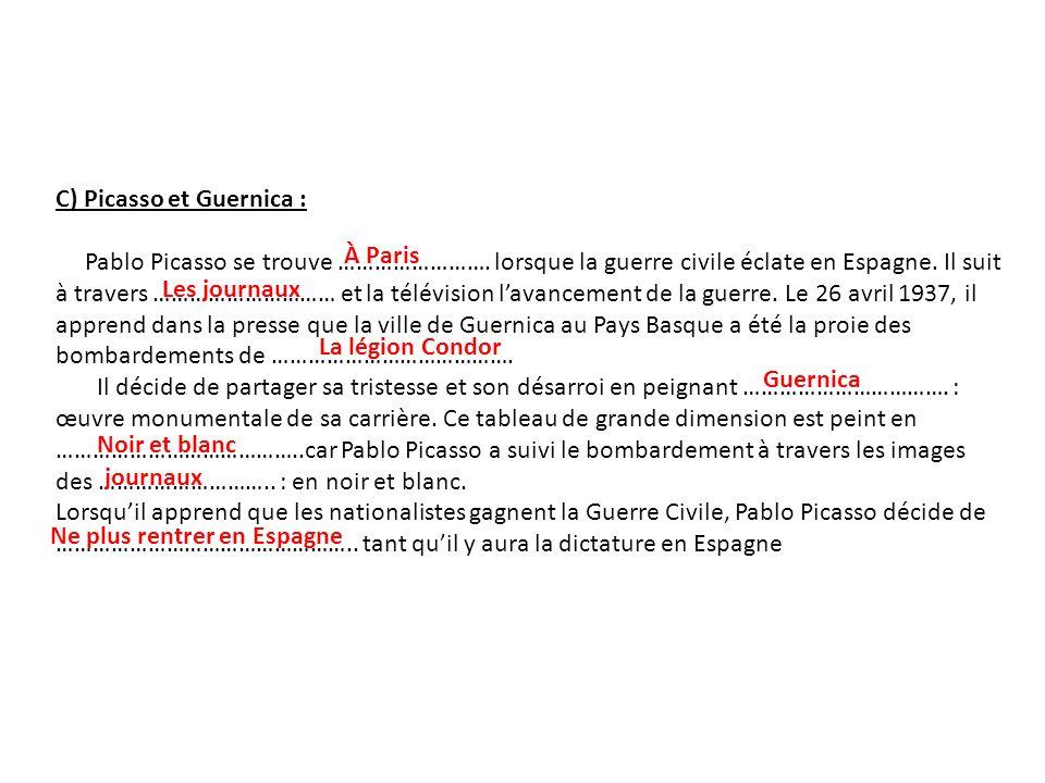 C) Picasso et Guernica :