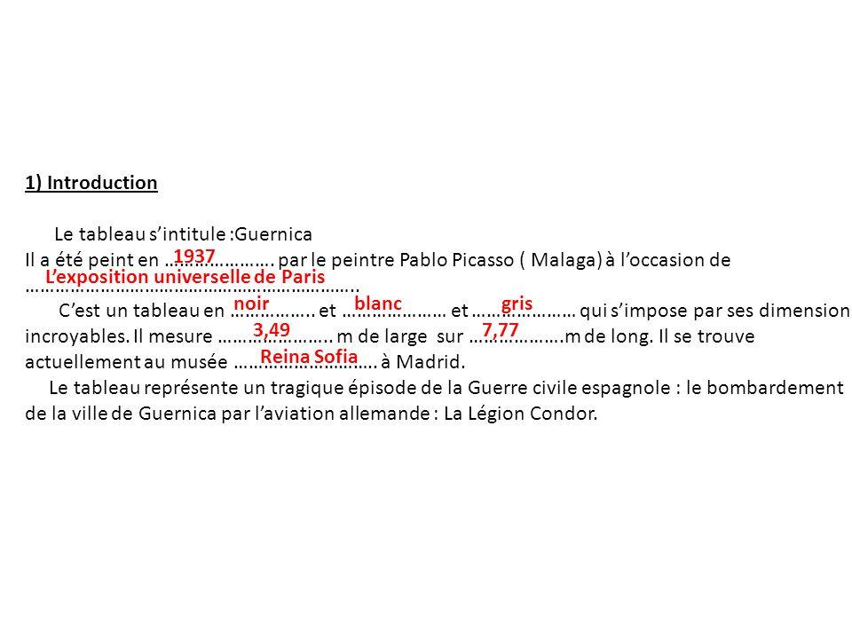 1) Introduction Le tableau s'intitule :Guernica.