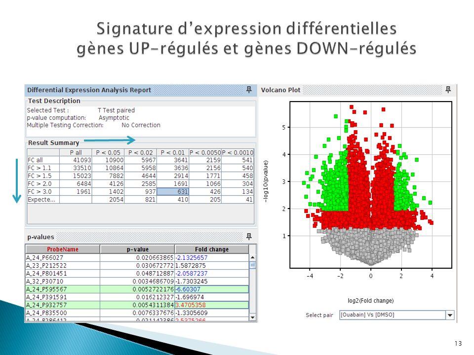 Signature d'expression différentielles gènes UP-régulés et gènes DOWN-régulés