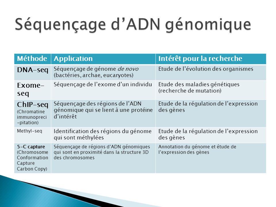 Séquençage d'ADN génomique