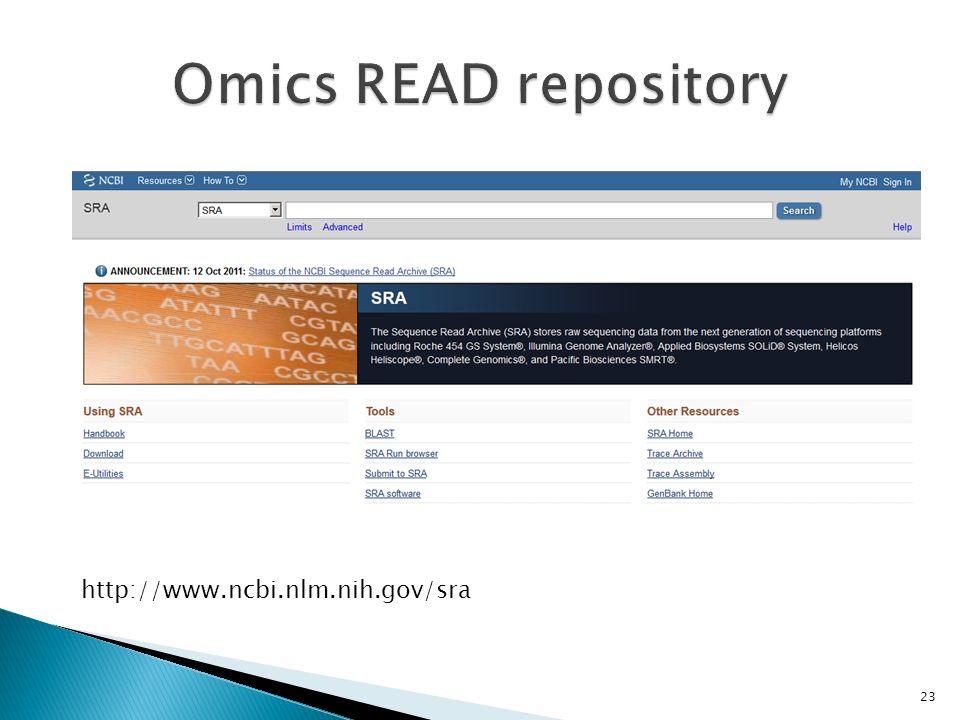Omics READ repository http://www.ncbi.nlm.nih.gov/sra