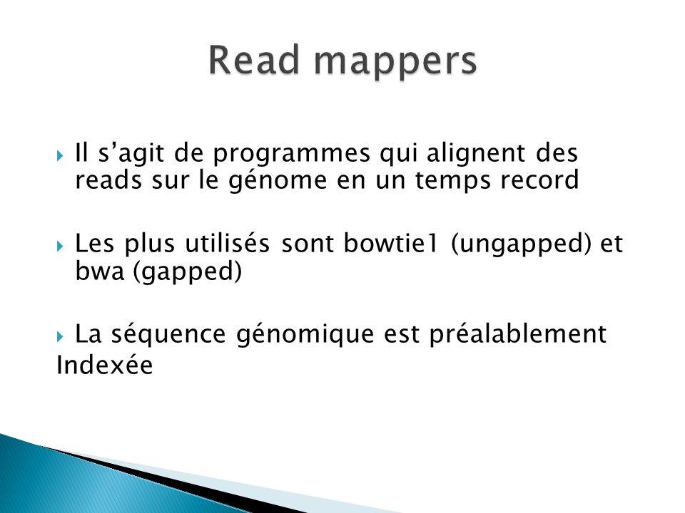 Read mappers Il s'agit de programmes qui alignent des reads sur le génome en un temps record.
