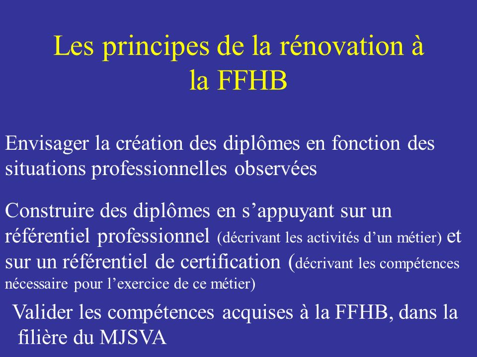 Les principes de la rénovation à la FFHB