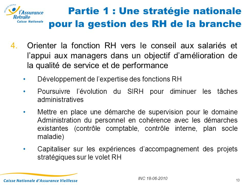 Partie 1 : Une stratégie nationale pour la gestion des RH de la branche