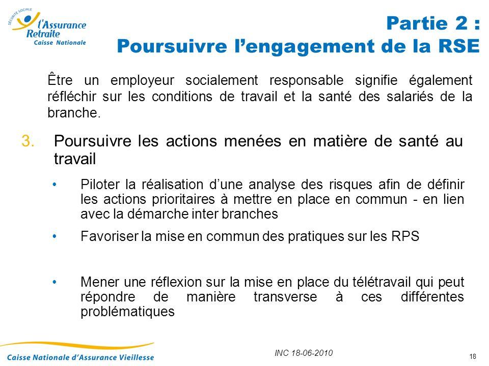 Partie 2 : Poursuivre l'engagement de la RSE