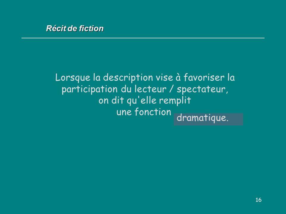Récit de fiction Lorsque la description vise à favoriser la participation du lecteur / spectateur, on dit qu elle remplit une fonction.