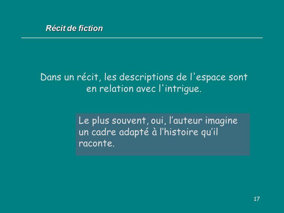 Récit de fiction Dans un récit, les descriptions de l espace sont en relation avec l intrigue. Oui / Non