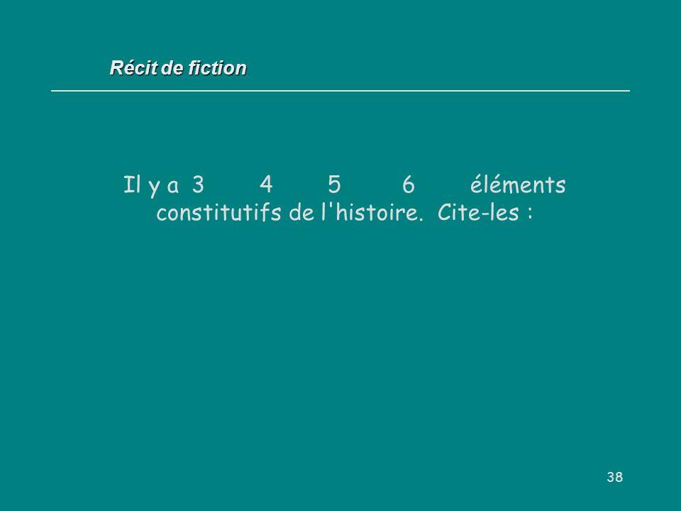 Il y a 3 4 5 6 éléments constitutifs de l histoire. Cite-les :