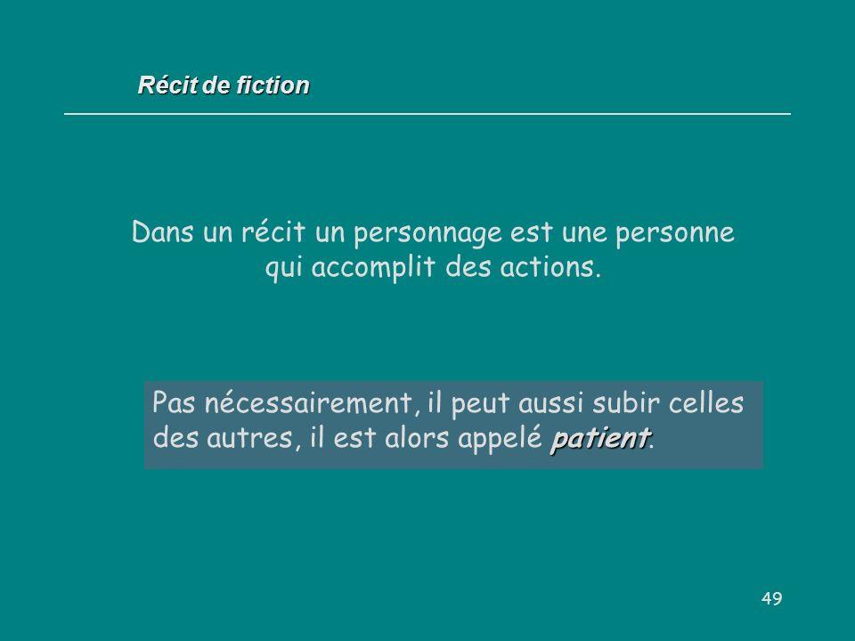 Récit de fiction Dans un récit un personnage est une personne qui accomplit des actions.
