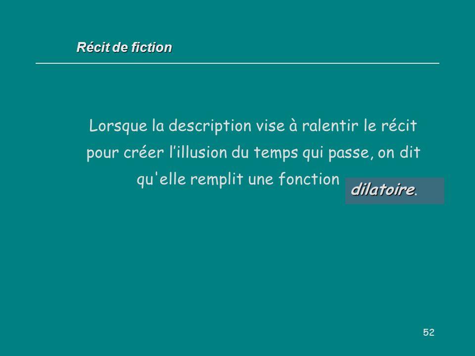 Récit de fiction Lorsque la description vise à ralentir le récit pour créer l'illusion du temps qui passe, on dit qu elle remplit une fonction . . .