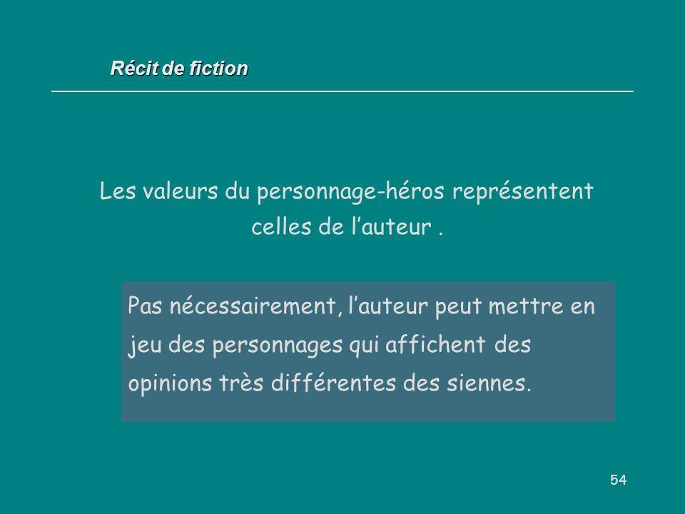 Les valeurs du personnage-héros représentent celles de l'auteur .
