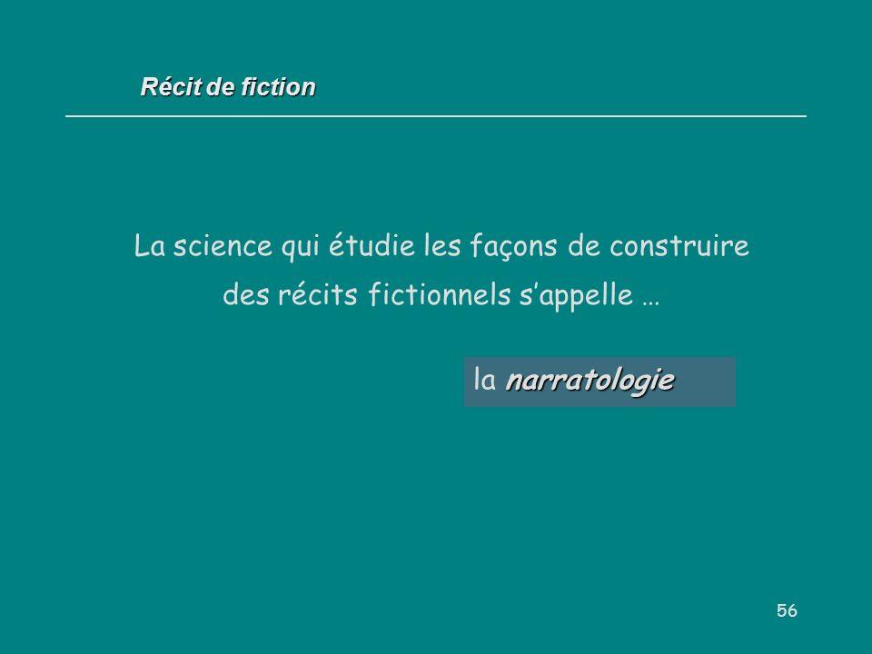 Récit de fiction La science qui étudie les façons de construire des récits fictionnels s'appelle … la narratologie.