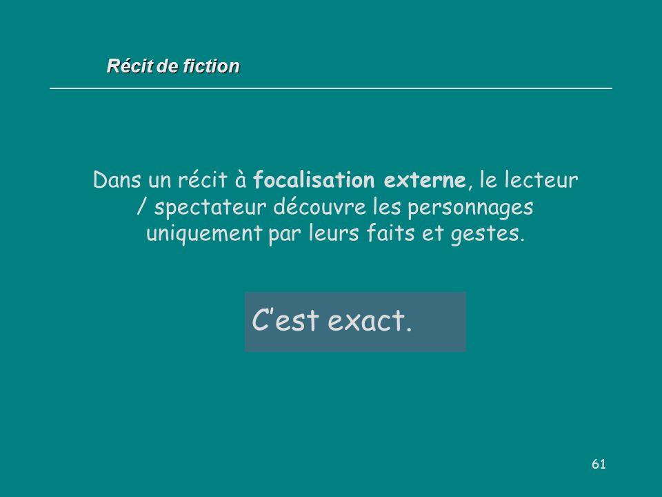 Récit de fiction Dans un récit à focalisation externe, le lecteur / spectateur découvre les personnages uniquement par leurs faits et gestes.