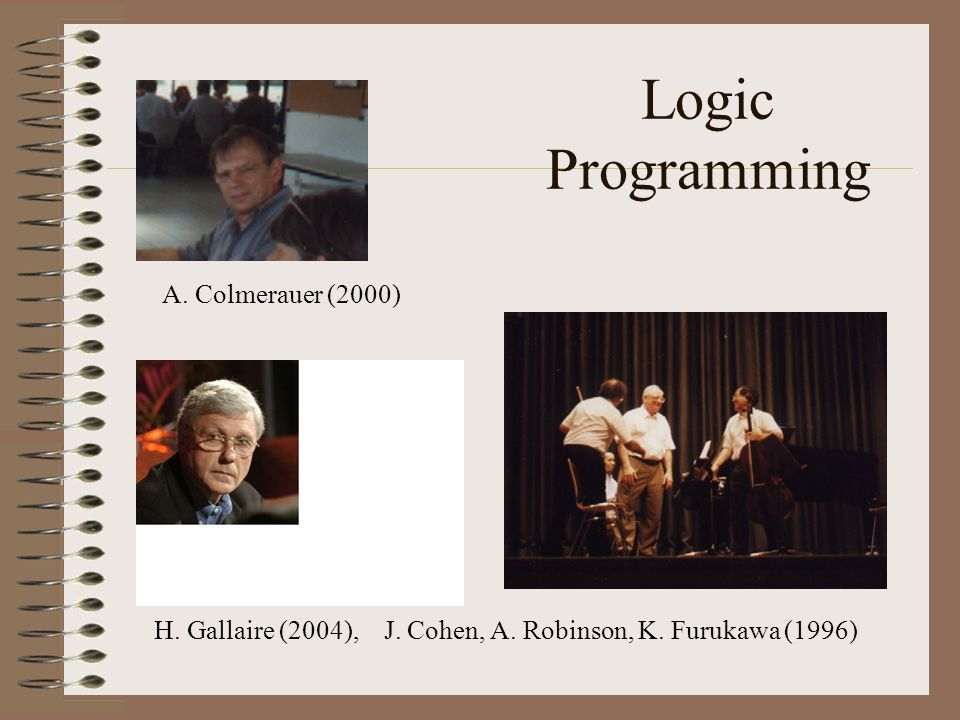 Logic Programming A. Colmerauer (2000)