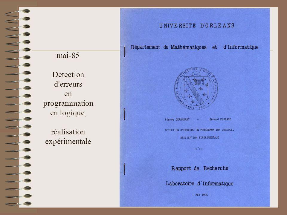 mai-85 Détection d erreurs en programmation en logique, réalisation expérimentale