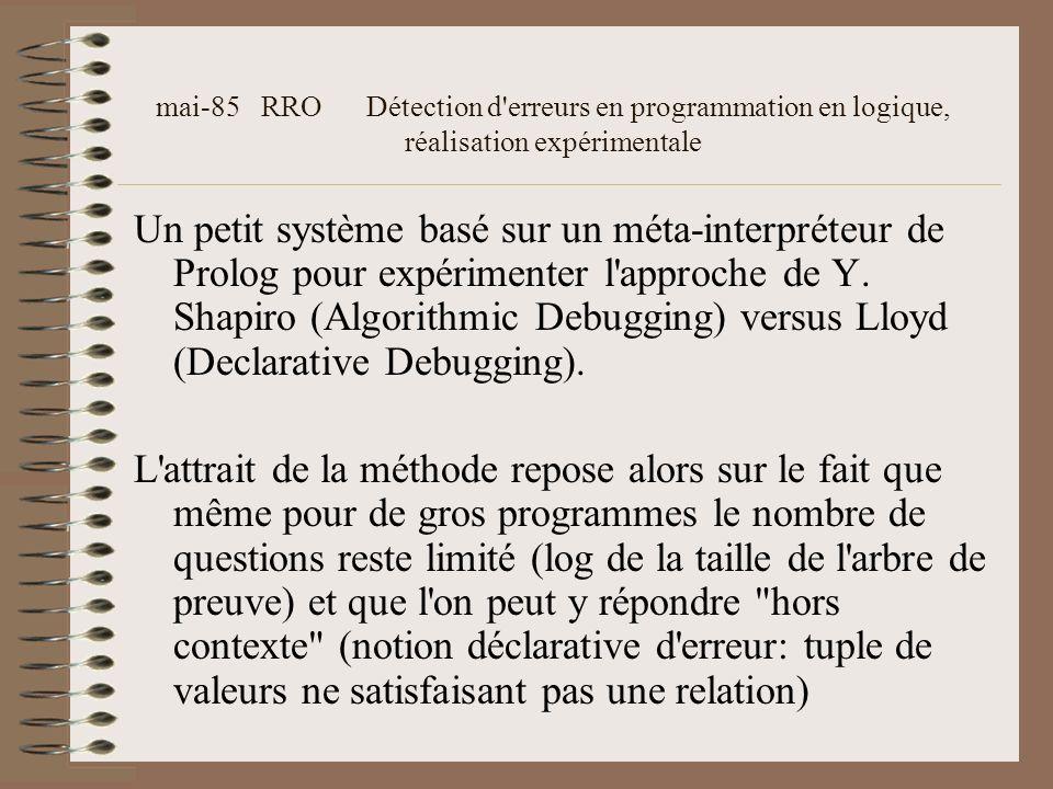 mai-85 RRO Détection d erreurs en programmation en logique, réalisation expérimentale