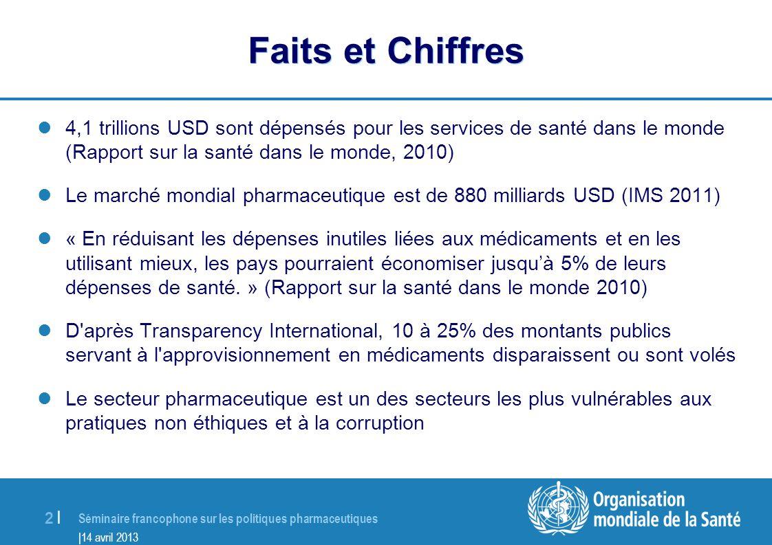 Faits et Chiffres 4,1 trillions USD sont dépensés pour les services de santé dans le monde (Rapport sur la santé dans le monde, 2010)