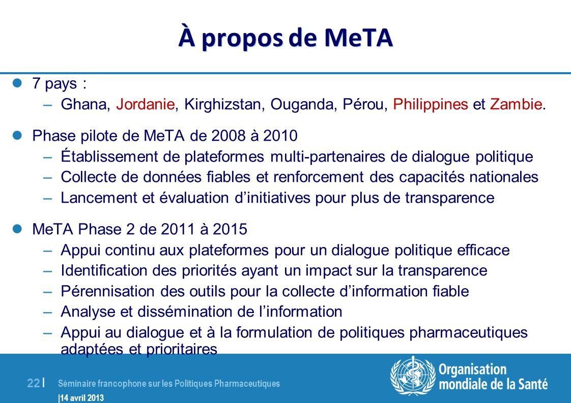 À propos de MeTA 7 pays : Ghana, Jordanie, Kirghizstan, Ouganda, Pérou, Philippines et Zambie. Phase pilote de MeTA de 2008 à 2010.