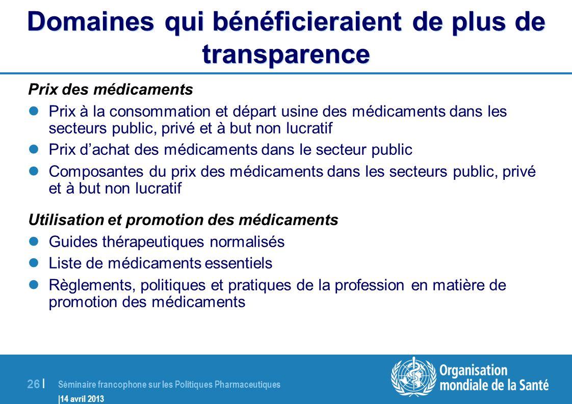 Domaines qui bénéficieraient de plus de transparence