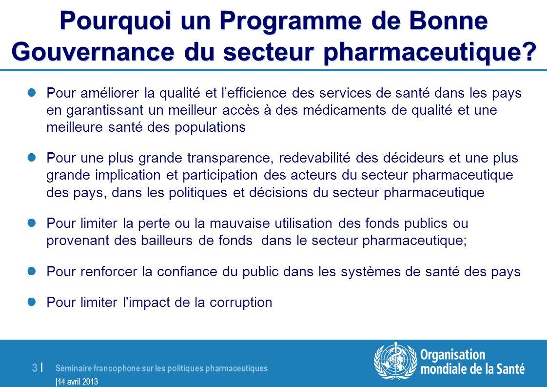 Pourquoi un Programme de Bonne Gouvernance du secteur pharmaceutique