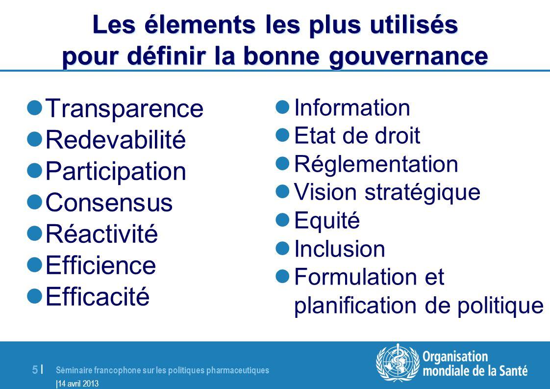 Les élements les plus utilisés pour définir la bonne gouvernance