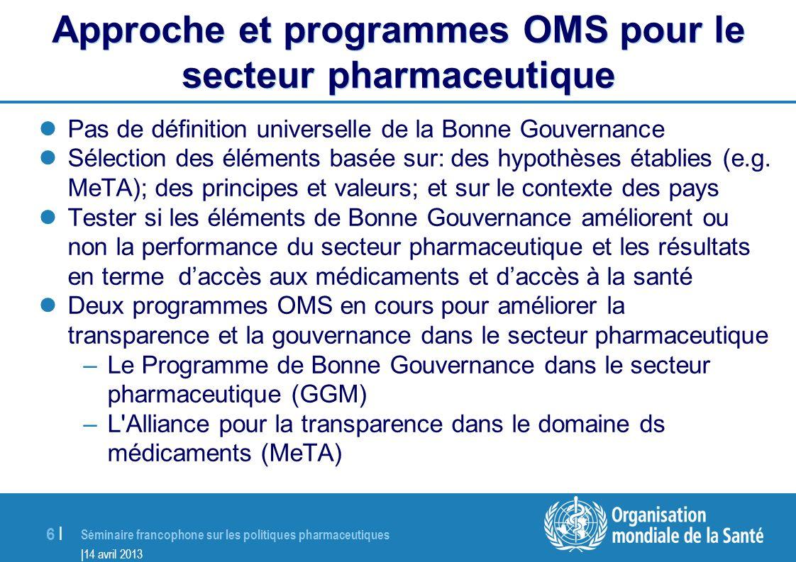 Approche et programmes OMS pour le secteur pharmaceutique