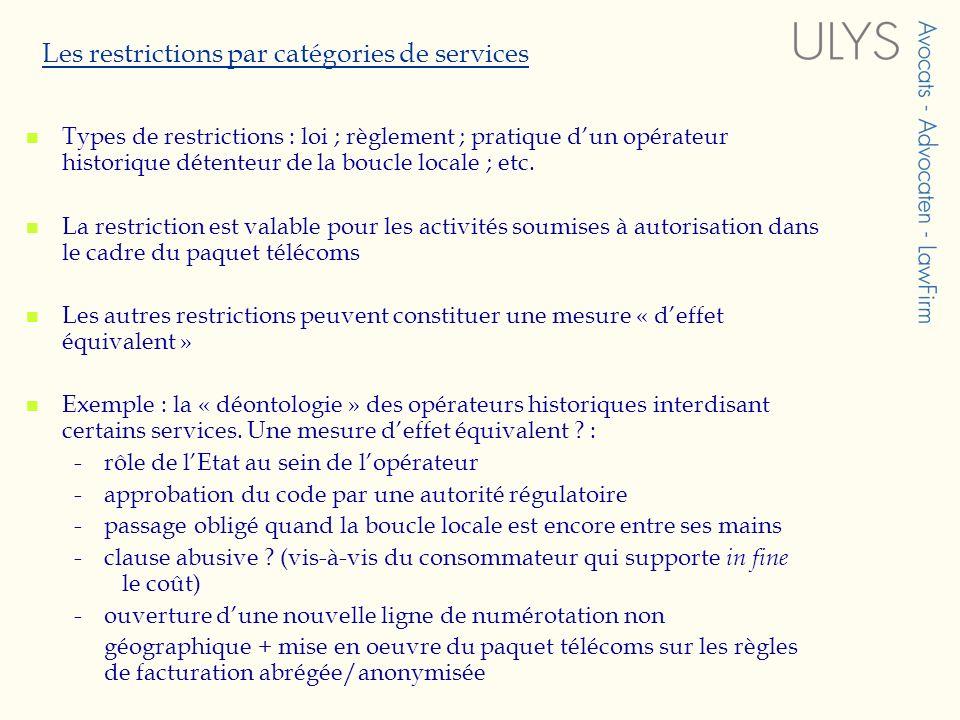 Les restrictions par catégories de services