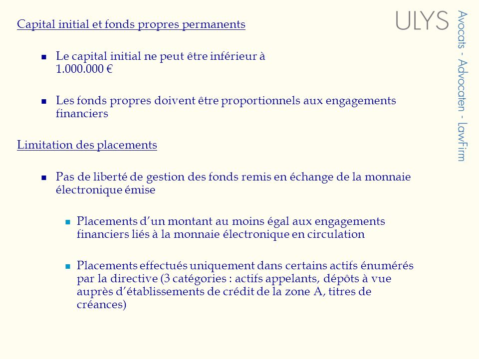 Capital initial et fonds propres permanents