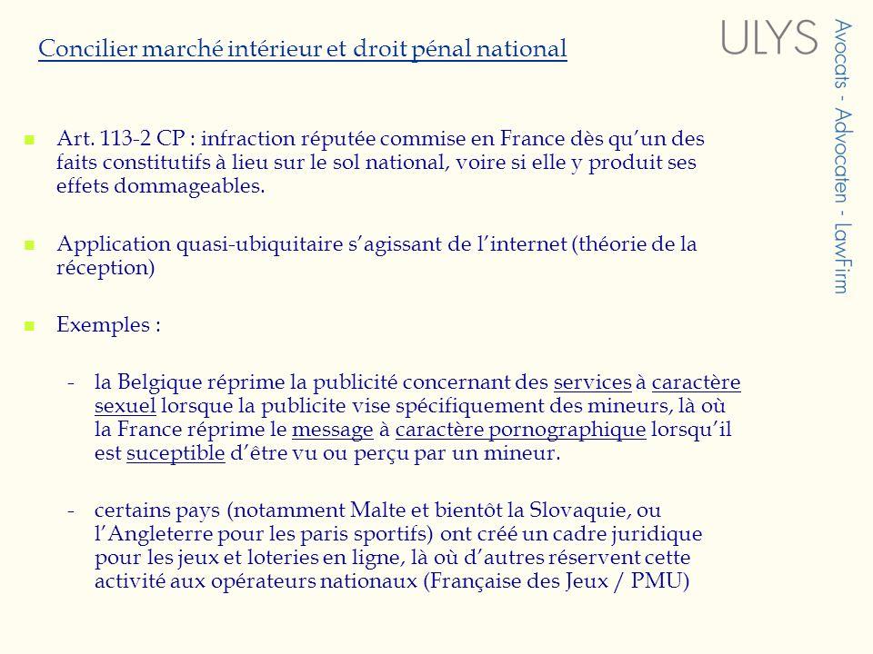 Concilier marché intérieur et droit pénal national