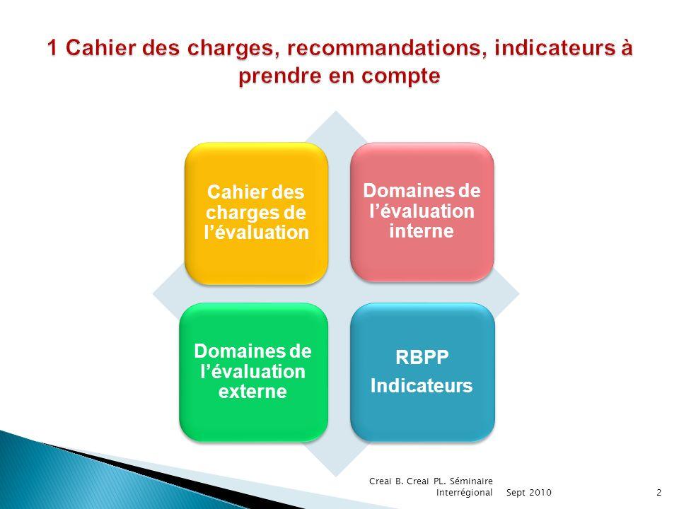 1 Cahier des charges, recommandations, indicateurs à prendre en compte