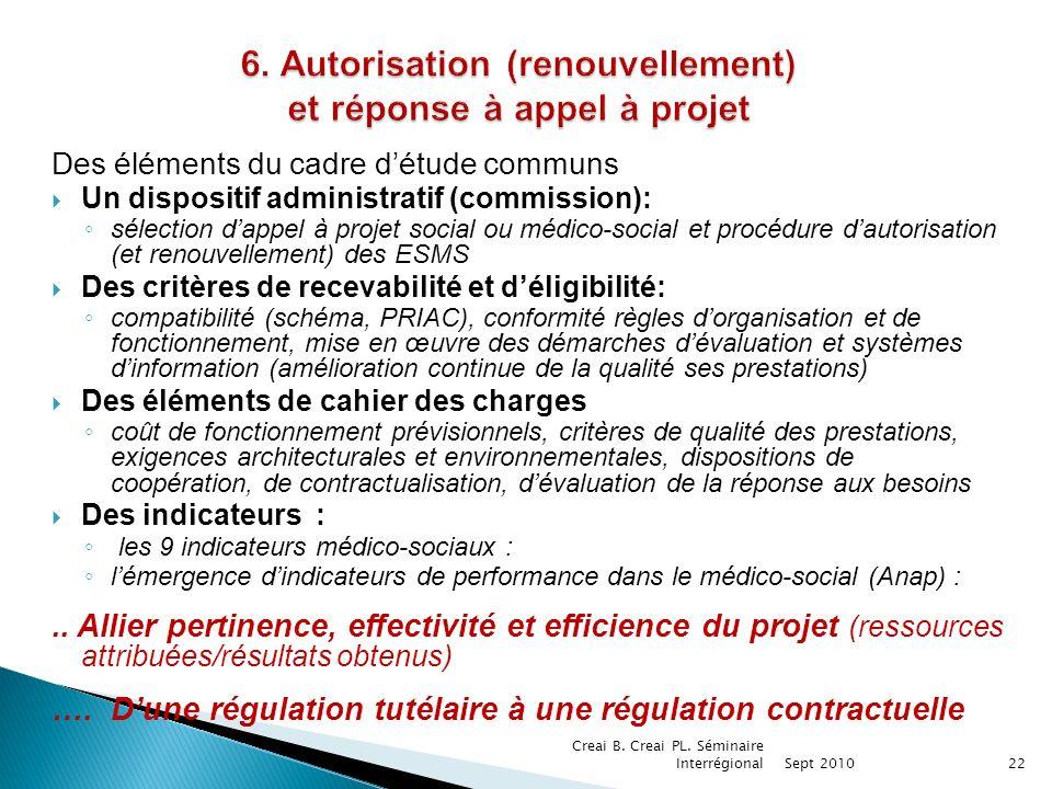 6. Autorisation (renouvellement) et réponse à appel à projet