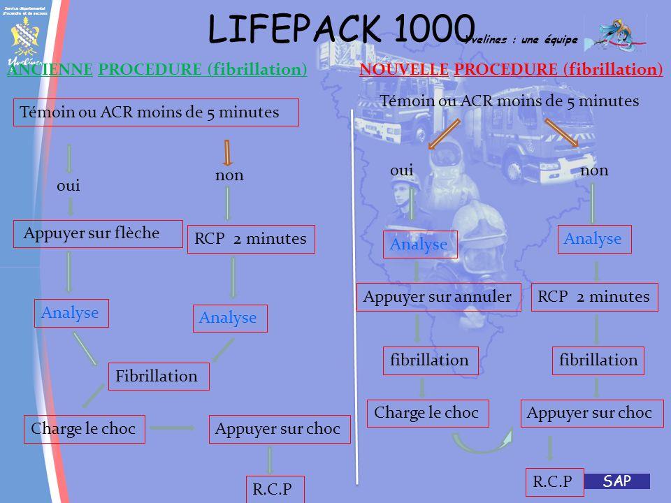 LIFEPACK 1000 ANCIENNE PROCEDURE (fibrillation) NOUVELLE PROCEDURE (fibrillation) Témoin ou ACR moins de 5 minutes.