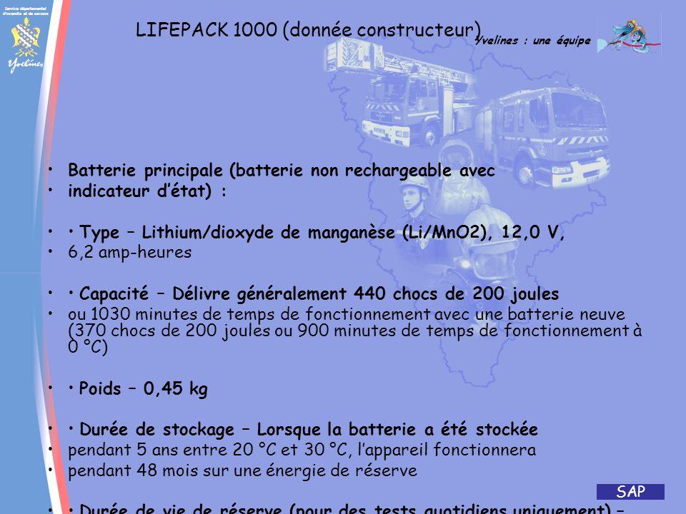 LIFEPACK 1000 (donnée constructeur)