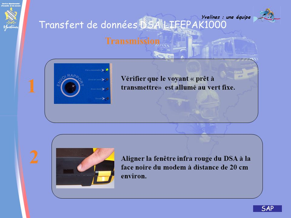 1 2 Transfert de données DSA LIFEPAK1000 Transmission