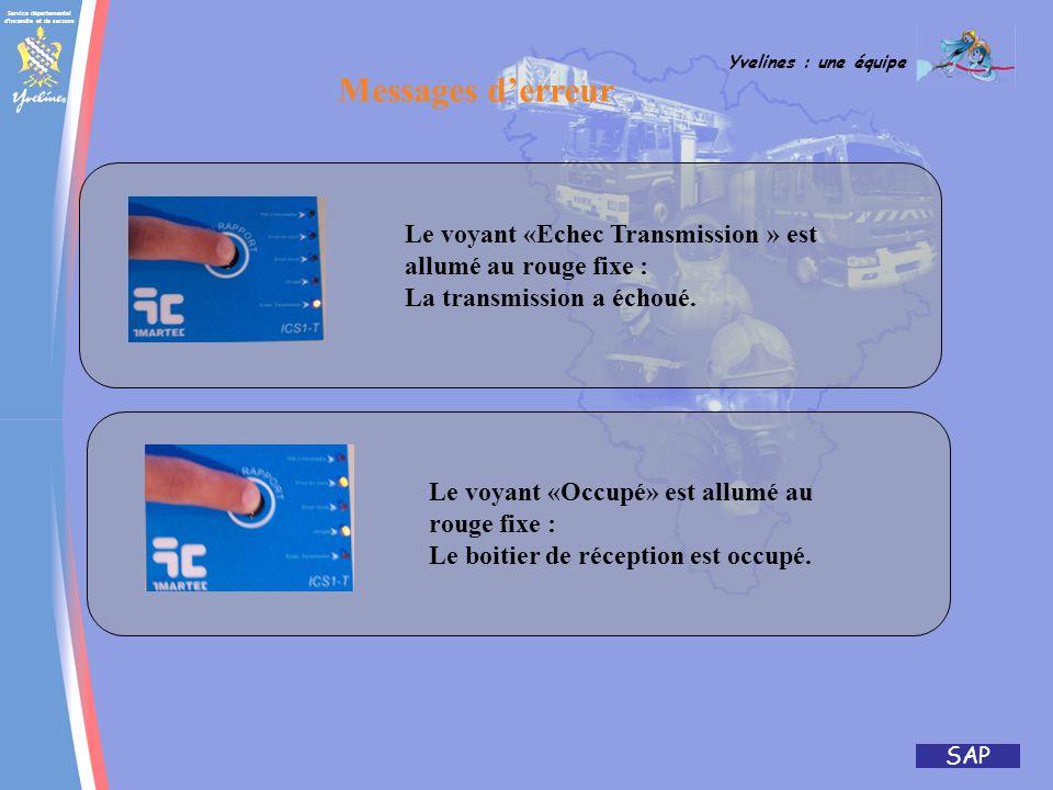 Messages d'erreur Le voyant «Echec Transmission » est allumé au rouge fixe : La transmission a échoué.
