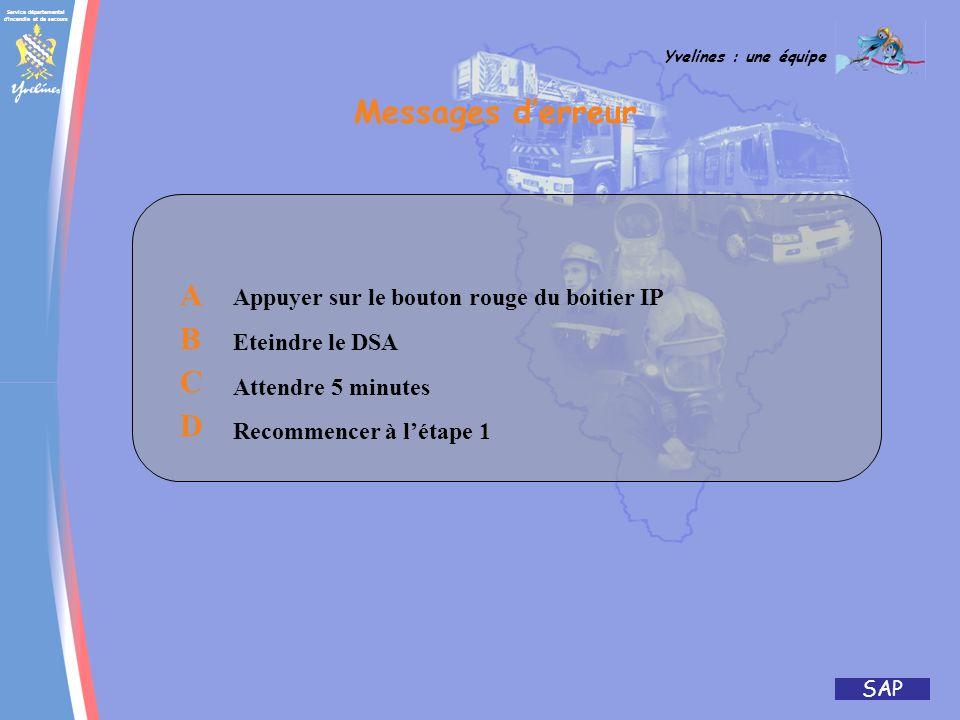 Messages d'erreur A B C D Appuyer sur le bouton rouge du boitier IP