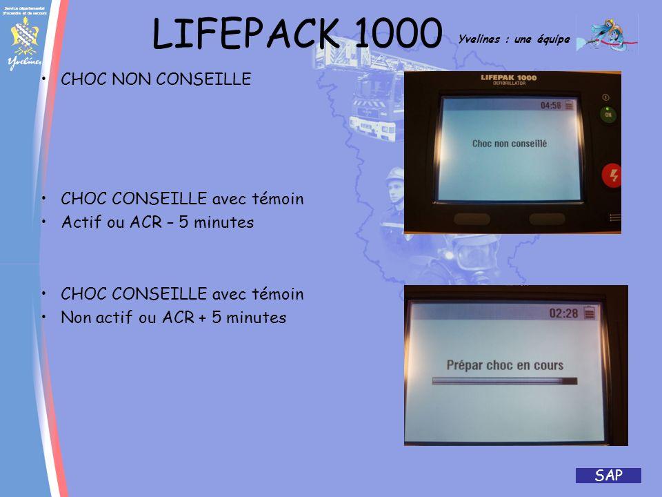 LIFEPACK 1000 CHOC NON CONSEILLE CHOC CONSEILLE avec témoin