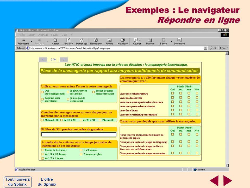 Exemples : Le navigateur Répondre en ligne