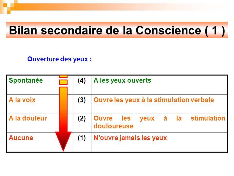 Bilan secondaire de la Conscience ( 1 )