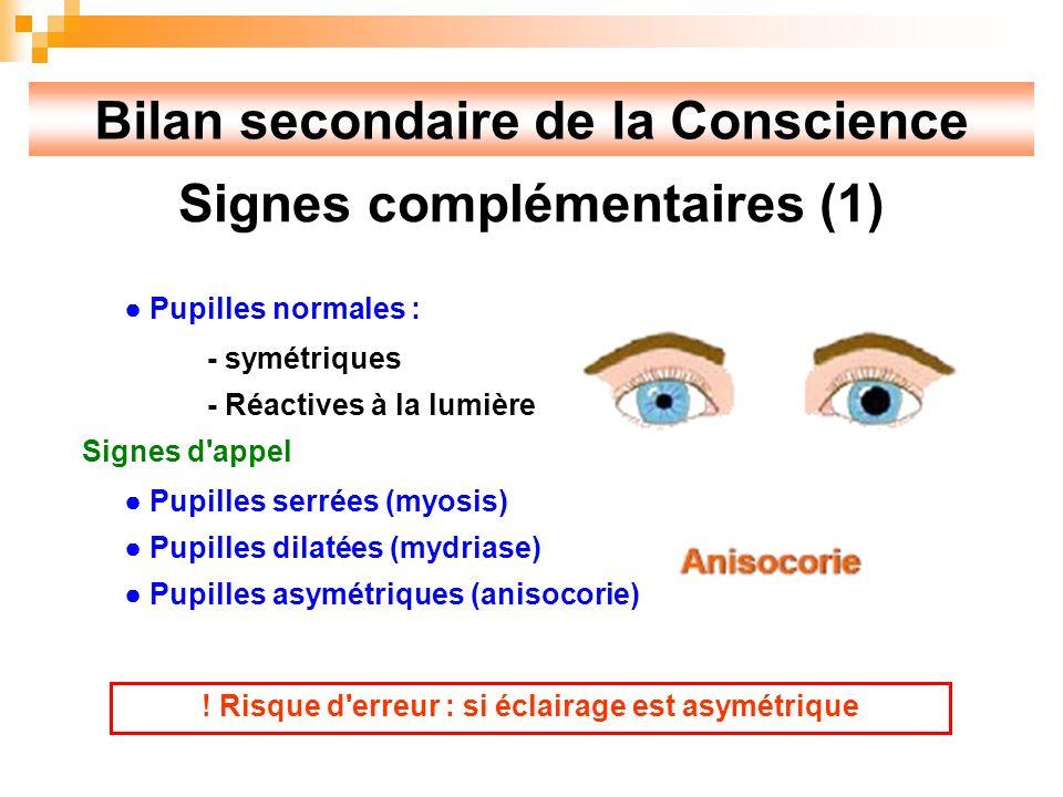 Bilan secondaire de la Conscience Signes complémentaires (1)