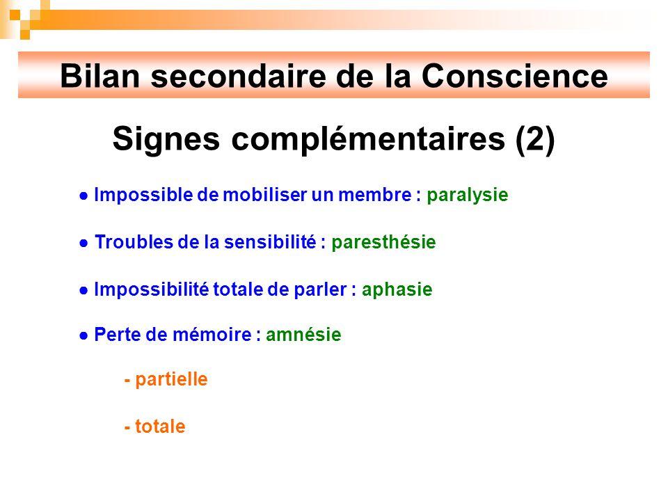 Bilan secondaire de la Conscience Signes complémentaires (2)