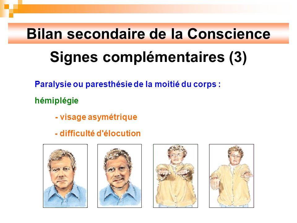Bilan secondaire de la Conscience Signes complémentaires (3)