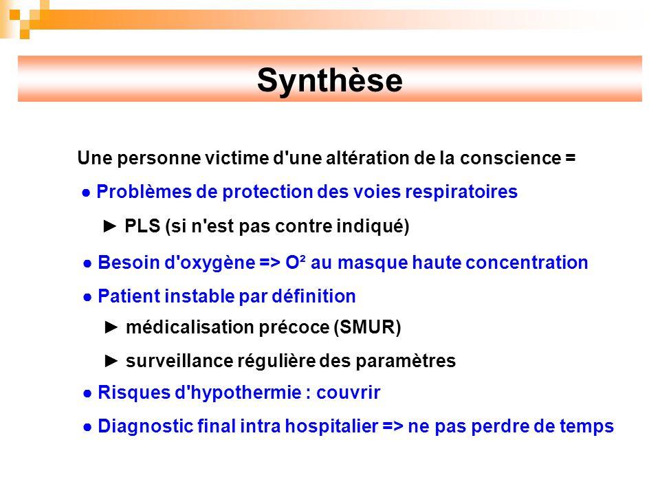 Synthèse Une personne victime d une altération de la conscience =