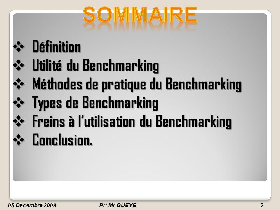 SOMMAIRE Définition Utilité du Benchmarking